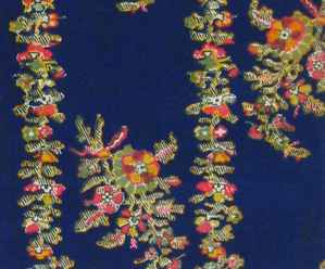 vintage fabric-red and pink flowers on blue background
